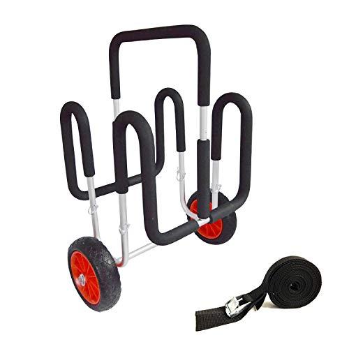 MROSW Doppel Stand UP Paddle Wagen, bis 100 KG, mit Surf Trolley Riemen, Aluminium Wagen für 2X SUP Board