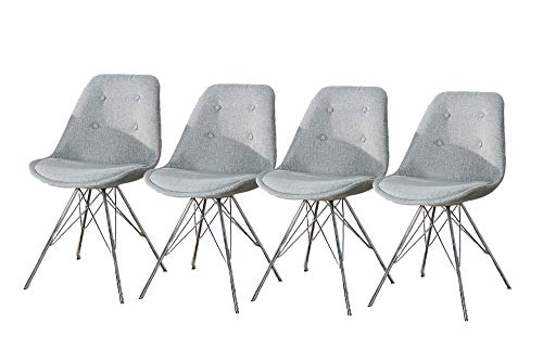 DuNord Design Esszimmerstuhl Stuhl Set 4er grau Strukturstoff Chrom Retro Design Küchenstuhl New Stockholm