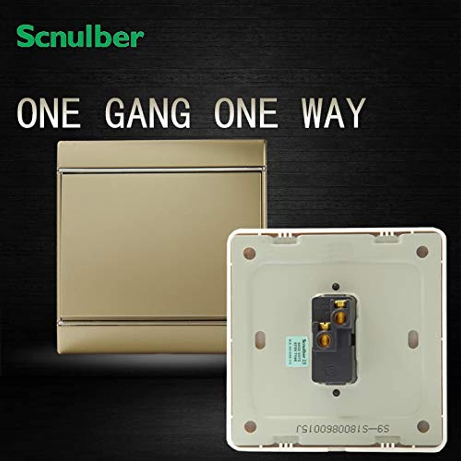 220V 16A 1 Gang 1 Way Champagne Chrome Plating Decoration Rocker Wall Switch