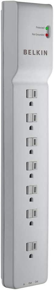 Power Strip, Belkin Surge Protector with 7 AC Multiple Outlets, 6 ft Long Heavy Duty Extension Cord for Home, Office, Travel, Laptop, Computer Desktop & Phone Charging Bricks - White (2320 Joules)