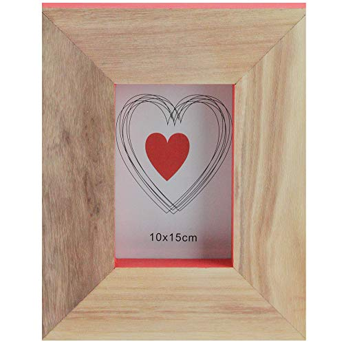 Kaemingk Basic Luxury Wood Picture Frame with Living Coral Pink Accented Edges 10