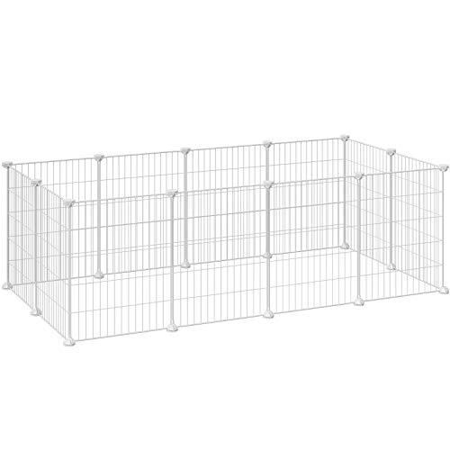 SONGMICS Guinea Pig Playpen, Indoor Rabbit Run Hutch Cage, Large Exercise Enclosure, DIY Metal Modular Fence for Pet, Small Animals, White LPI01W