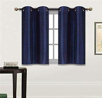 Elegant Home 2 Panels Tiers Grommets Small Window Treatment Curtain Faux Silk Semi Sheer Drape Short Panel 28  W X 36  L Each for Kitchen Bathroom or Any Small Window # N25  Navy Dark Blue
