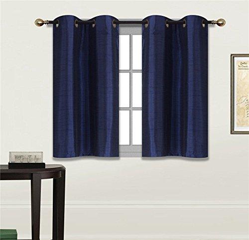"Elegant Home 2 Panels Tiers Grommets Small Window Treatment Curtain Faux Silk Semi Sheer Drape Short Panel 28"" W X 36"" L Each for Kitchen Bathroom or Any Small Window # N25 (Navy Dark Blue)"