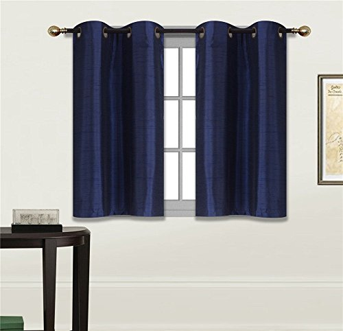 "Elegant Home 2 Panels Tiers Grommets Small Window Treatment Curtain Faux Silk Semi Sheer Drape Short Panel 30""W X 36""L Each for Kitchen Bathroom or ANY Small Window # N25 (Navy Dark Blue)"