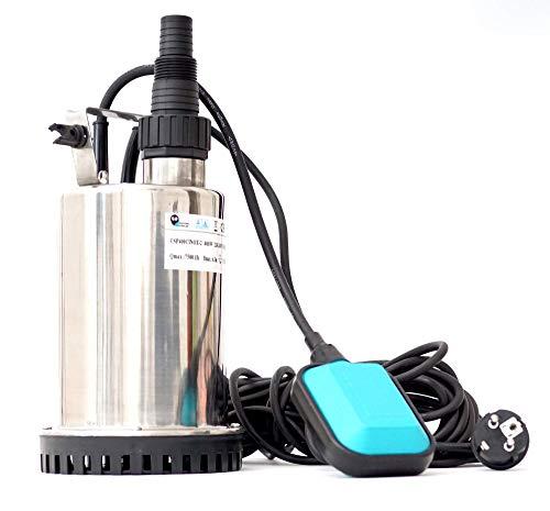 CSP750C AQUA-Line Flachsaugende Tauchpumpe Schmutzwasserpumpe Poolpumpe aus Edelstahl INOX 750W inkl. Schwimmerschalter !! TÜV/GS/EMC/CE !!, Abschalthöhe 5mm, Fördermenge: 11000l/h, 230V / 50Hz