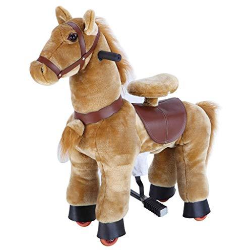 Caballo Mecanico Paseo en el caballo del juguete, felpa caballo que camina Brown animales, ninguna...