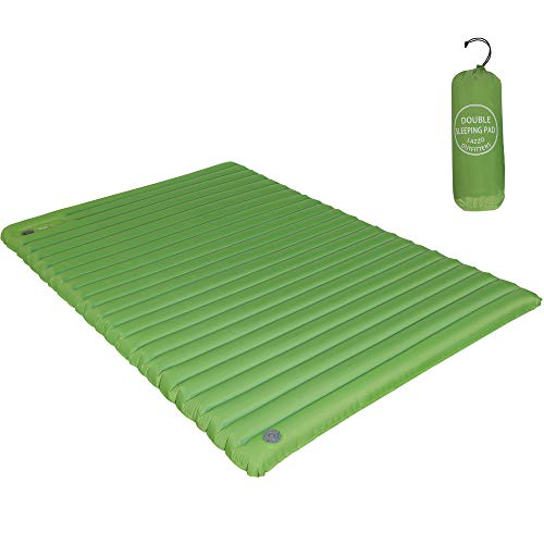 LAZZO Double Sleeping Pad-Mat,Ultralight 1800g/63.5oz,Best Sleeping Pads for Camping,Hiking,Backpacking,Tent.Inflates in just 7minutes.(Green)