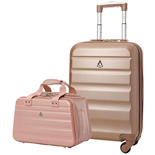 Aerolite Ryanair 55x35x20cm Lightweight ABS Hard Shell Travel Carry On Cabin Hand Luggage Suitcase + 40x20x25cm Hand Cabin Shoulder Bag Rose Gold + Rose Gold