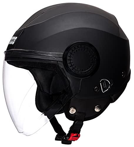 Studds Urban O/F Helmet BK/BK Strip(L), Black, Expanded Polystyrene and Plastic