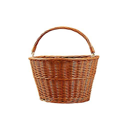 Horypt Universal Bike Wicker Basket, manillar frontal Folk Handgewebt - Cinturón ajustable artesanía bicicleta Wicker Storage Front manillar Basket, A