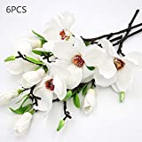 DAMEING Artificial Magnolia Flower 6pcs Bridal Wedding Bouquet Cloth Plastic Fake Wedding Flower Bouquet for Wedding Party Home Office Garden Bridal Hydrangea Decor Anniversary Pool Party