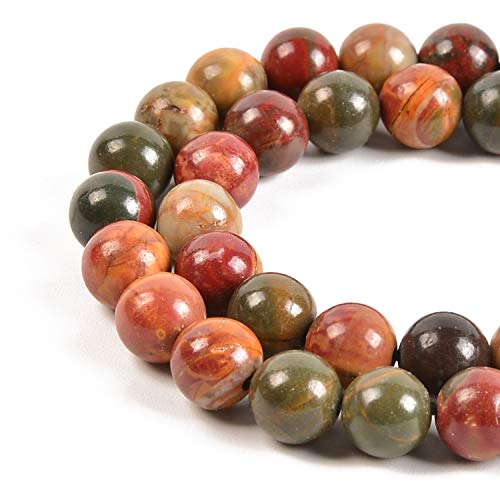 Nancybeads Picasso Jasper Beads 1 Strand Natural Semi Precious Beads Round Smooth Gemstones Loose Spacer Beads Charms for Necklaces Bracelets Jewelry Making (Picasso Jasper, 6mm 60Beads)