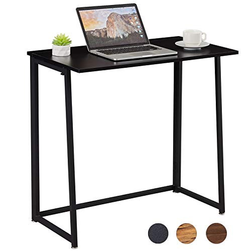 Superjare 315 Inches Folding Computer Desk Sturdy Home Office Desk for Small Space Modern Simple Style Writing Table Multipurpose Workstation  Black