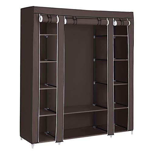 "SONGMICS 59"" Portable Clothes Closet Wardrobe Non-woven Fabric Storage Organizer Dark Brown ULSF03K"