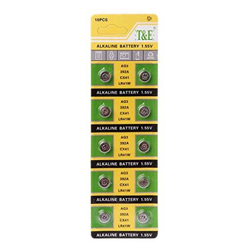 Cansenty 10 x Knopfzelle Alkaline Batterie AG3 1,55 V Knopfbatterien SR41 192 L736 384 SR41SW CX41 LR41 392 Lampenkette Fingerlicht Uhr Spielzeug Fernbedienung