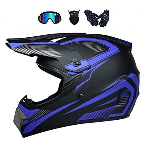 NNYY, casco da motocross, casco da motocross, per adulti, casco da discesa, occhiali, guanti, maschera facciale, per BMX, MTB, ATV, certificazione ECE e DOT, L (56 ~ 57 cm)