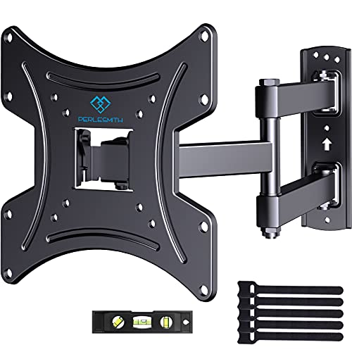 PERLESMITH Full Motion TV Wall Mount Bracket for 13-42 Inch Flat Curved TVs Max VESA 200x200mm- Articulating Arms Swivel Tilt & Extends- Monitor VESA Wall Mount Supports TV up to 77lbs- PSSFK1