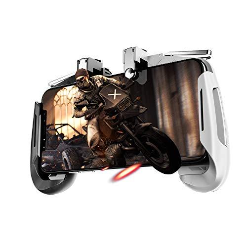 Newseego PUBG Mobile Game Controller, Controlador Móvil Joystick con L1R1 Trigger Puntería y Disparo Altamente Sensibles para iOS & Android para Knives out - Negro + Blanco