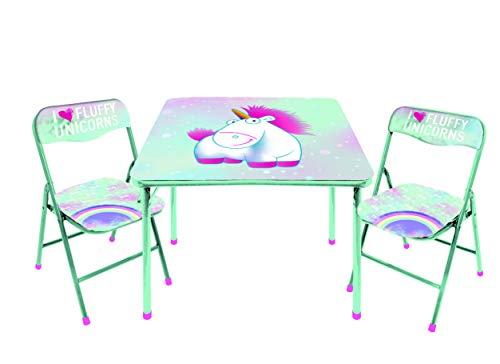 Idea Nuova Universal Despicable Me Fluffy The Unicorn 3 PC Table & Chair Set, Mint