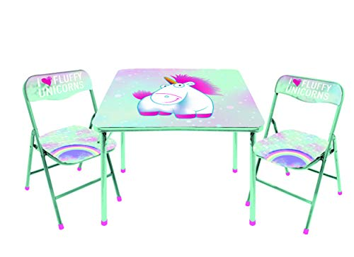 Universal Despicable Me Fluffy The Unicorn 3 PC Table & Chair Set, Mint