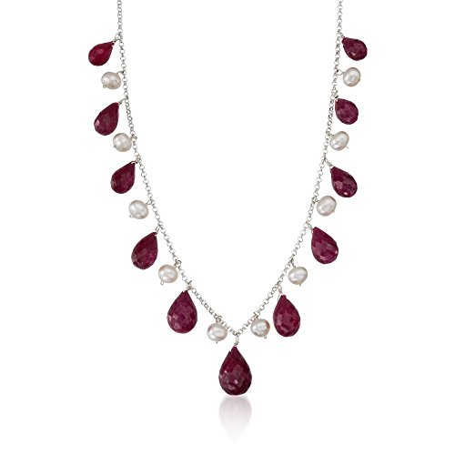 Ross-Simons 45.00 ct. t.w. Ruby and 4-5mm Cultured Pearl Drop Necklace in Sterling Silver For Women 18 Inch 925