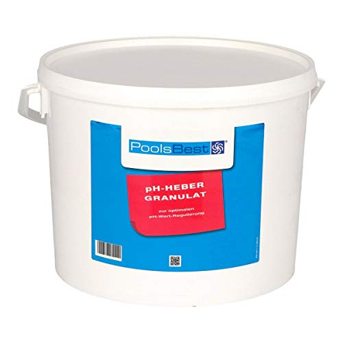 POOLSBEST® 10 kg pH Heber Granulat für Pools - wirksames Granulat inklusive Messbecher - pH Plus zur optimalen pH-Wert Stabilisierung