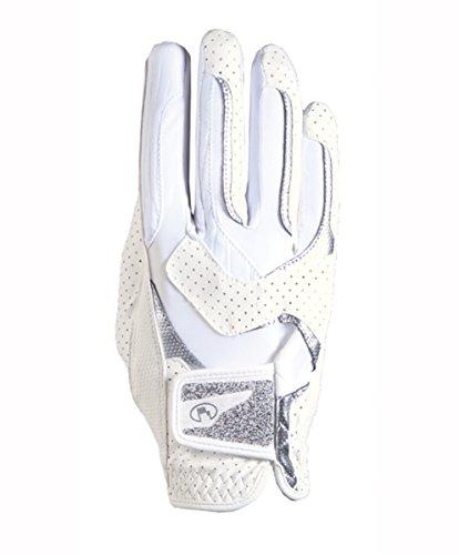TORNEO de equitación Roeckl para mujer guantes de Lara 3301-339 blanco - Swarovski crystal fabric, color  - weiß / white, tamaño 8.5