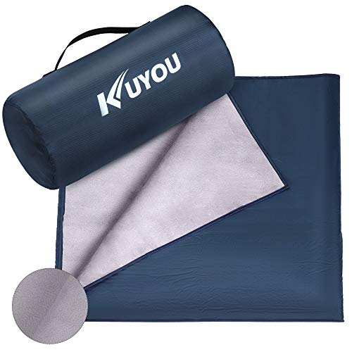 KUYOU Camping Blanket Waterproof,200X140CM Picnic Blanket Mat Extra Thick Fleece Throw Outdoor Blanket Warm Travel Blanket Foldable with Carry Bag for Camping,Hiking,Picnic,Beach,Dogs and Home Use