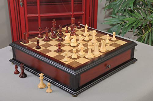 The Collector Series Library Chess Set, Box, Board Combination - 3.0' King - Blood Rosewood
