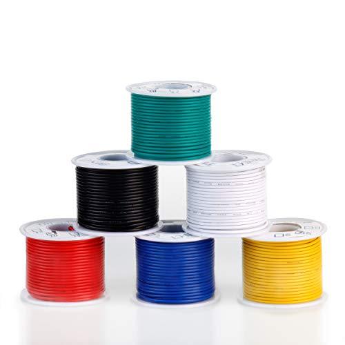 Cables eléctricos de núcleo sólido de 22 AWG kit (6 colores, 15,2 m), cable de cobre sólido estañado con aislamiento de silicona, juego de cables de conexión trenzados de calibre 22