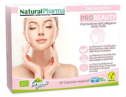 Natural Pharma Labs. Probiotici Biologici ProBeauty. Cura della Pelle. Vitamina C + B6 + Zinco. Capsule Smart BioCaps. Probiotici Naturali. Senza Glutine, Senza Lattosio, Vegani.