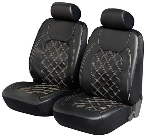 Walser Deluxe Auto Sitzbezug Paddington mit Reißverschluss, ZIPT-IT Schonbezüge Auto, 2 Vordersitzbezüge Kunstleder schwarz 11978