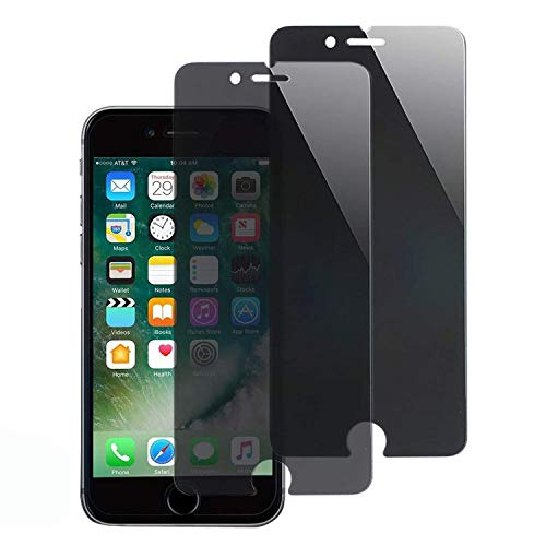 Privacy Screen Protectorfor iPhone 7 Plus and iPhone 8 Plus, 5.5Inch [2 Pack], Anti Spy 9H Tempered Glass, Easy Install [Black]