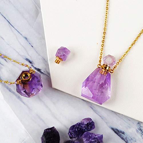 JIANGLAI Collar De Botella De Perfume Difusor De Botella De Aceite Esencial De Piedra Natural De Varios Tipos Collar De 26'Regalos De Cuarzo Rosa