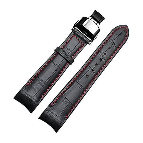 Correas de Reloj - Correas de Cuero Genuino Correa Curvado Hombres de Gama con la Mariposa Hebilla de 20mm, 21mm, 22mm, Negro Rojo Negro, 20mm