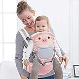 Rufun Portador de bebé Patrón Animal Asiento de Cadera Ergonómico para el Recién Nacido Frente y Detrás (rosa)