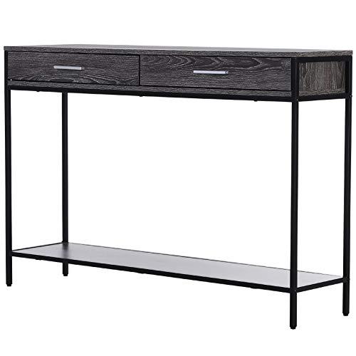 HOMCOM Konsolentisch Eingangstisch Beistelltisch 2 Schubladen Unterregal Stahl Grau 120 x 30 x 81,5 cm