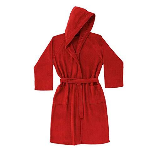 Albornoz Zucchi Basics Journey para hombre y mujer, con capucha, talla S – M – L – XL de micro rizo de puro algodón 260 g/m² Carmín. S