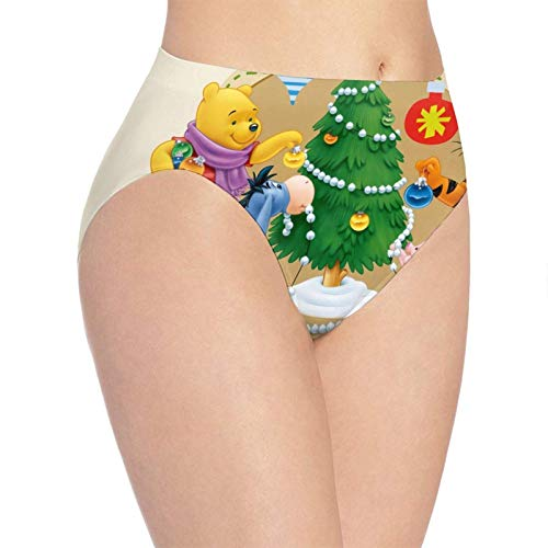 XCNGG Bragas Ropa Interior de Mujer Winnie Piglet Pooh Bear Christmas Women's Panties Cotton Stretch Seamless Panty Briefs