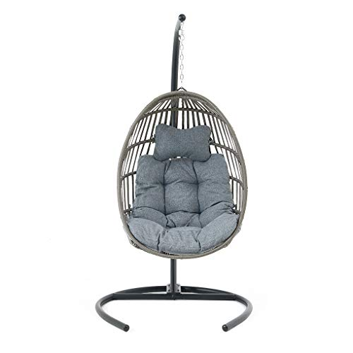 FDY Hanging Swing Chair, Wicker Rattan Outdoor Patio Lounge Egg, Hammock Cushion with Steel C-Stand Support Frame Hanging Egg Basket Seat (B)