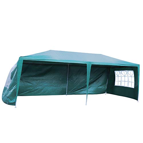 3x6m Garden Gazebo with 4 Side Walls and 3 Window, Waterproof Folding Gazebo and Protection for Garden, Picnic, Beach, Party, Outdoor Activities