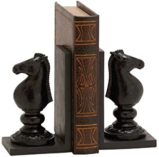 Bellaa 29752 Bookends Pair Horse Knight Chess Brown Black Polystone 7 Inch