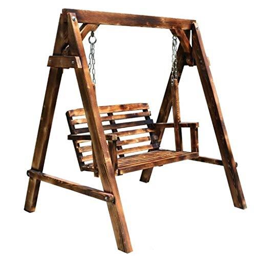 Balancelles de Jardin Swing Swing pelouse extérieure Chaise Suspendue Loisirs de Plein air Adulte Chaise balançoire en Bois balançoire Patio (Color : Brown, Size : 140 * 120 * 152cm)