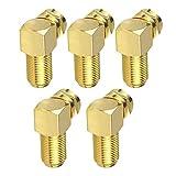 Adaptador de cable F de ángulo para cable de antena coaxial chapado en oro, 5 unidades