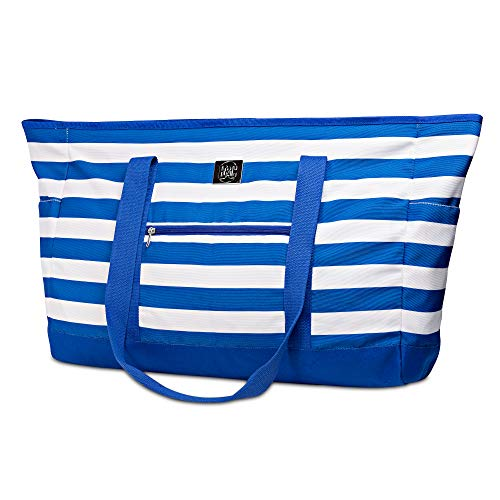 Extra Large Beach Bag With Zipper - XXL Beach Tote Bag With Many Pockets