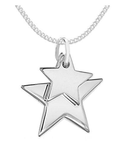Heather Needham Sterling Silver Star necklace on 16' curb chain - STAR SIZES: 17mm and12mm. Gift boxed solid silver double star necklace 8173/16