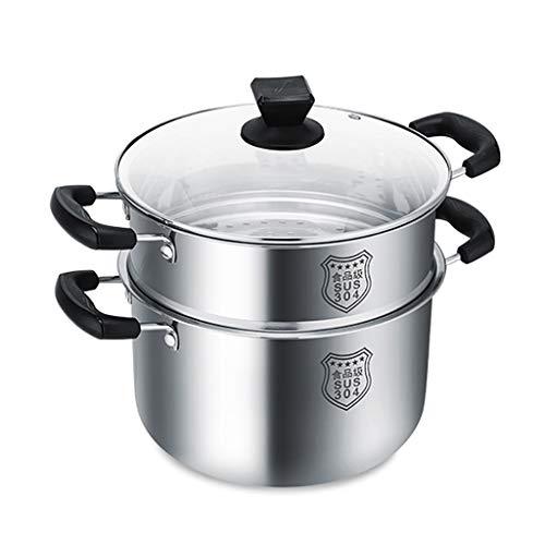 304 Vapor De Acero Inoxidable/Pote De La Sopa, Hogar Vapor De 2 Capas, Con Tapa Y Vapor, 20-30cm, Conveniente For Cocina De Gas/Cocina De Inducción Ollas (Size : 20cm)