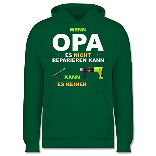 Shirtracer Opa - Wenn Opa es Nicht reparieren kann kann es keiner - 3XL - Grün - Opa das Nicht reparieren kann kann es keiner - JH001 - Herren Hoodie und Kapuzenpullover für Männer