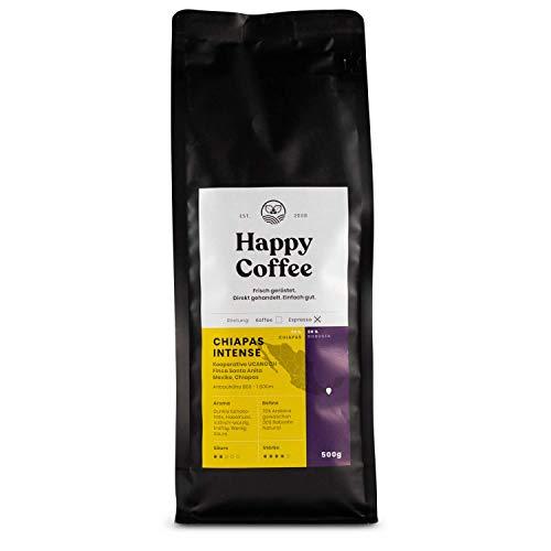 Happy Coffee CHIAPAS INTENSE Espressobohnen | Stark & kräftige Crema | 70% Arabica 30% Robusta (Ganze Bohnen) (500 g)